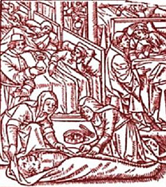 Woodcut of plague victims