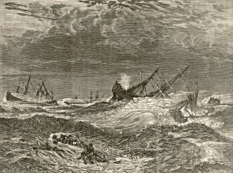 An artist's impression of the Great Storm of 1703