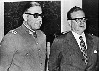 Allende (right) and his new commander in chief Augusto Pinochet
