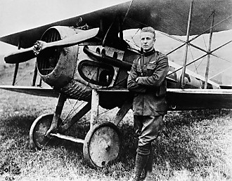 Frank Luke, Jr with his Spad XIII
