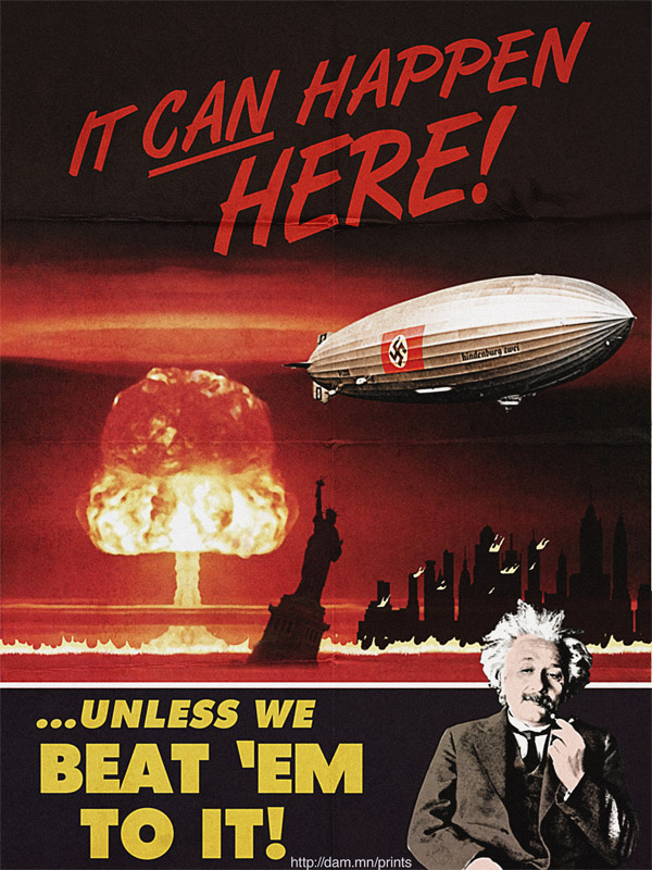 Poster in reference to Einstein's 1939 letter to president Roosevelt